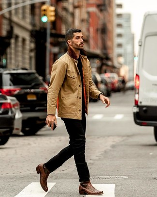 How to wear: brown leather chelsea boots, black jeans, black crew-neck t-shirt, tan barn jacket