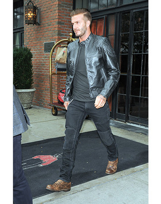 How To Wear A Black Leather Jacket With Brown Footwear For Men 30
