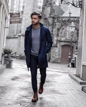 How to Wear Brown Leather Casual Boots For Men: Team a navy trenchcoat with black jeans to put together an effortlessly classic and pulled together outfit. Look at how great this ensemble is finished off with brown leather casual boots.