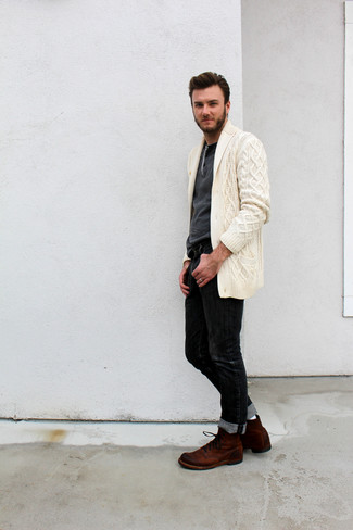 How to wear: brown suede casual boots, black jeans, charcoal henley sweater, beige shawl cardigan