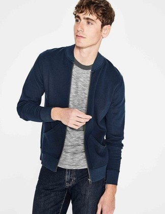 How to wear: black jeans, grey crew-neck t-shirt, navy bomber jacket