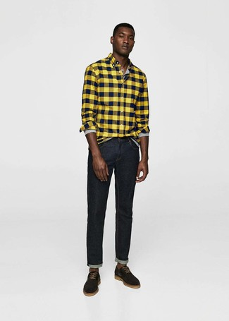 How to wear: black suede derby shoes, black jeans, grey long sleeve henley shirt, yellow check flannel long sleeve shirt