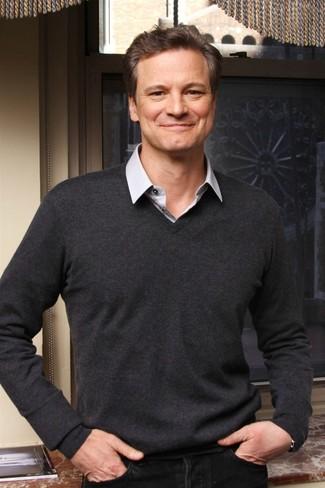 49f7cae5ec764 Colin Firth wearing Black Jeans