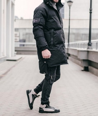 How to wear: black and white leather high top sneakers, black jeans, grey turtleneck, black puffer coat