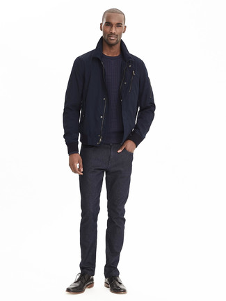 How to wear: black leather brogue boots, black jeans, navy crew-neck sweater, navy bomber jacket