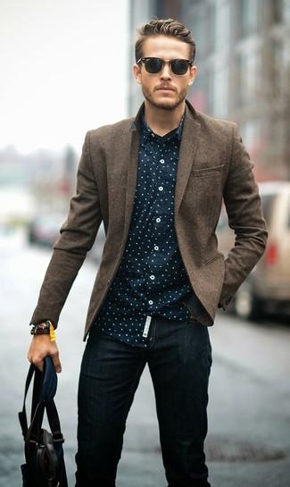 How to wear: dark brown leather tote bag, black jeans, navy polka dot long sleeve shirt, brown wool blazer