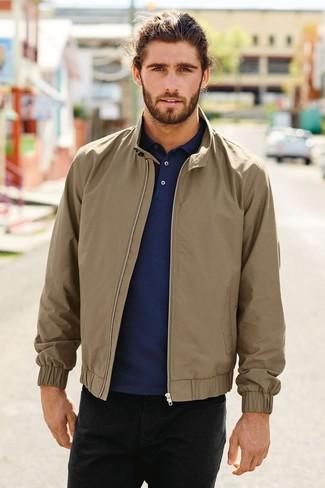 How to wear: black jeans, navy polo neck sweater, tan harrington jacket