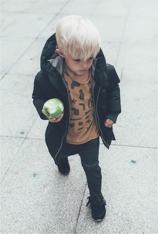 Boys' Looks & Outfits: What To Wear In Cold Weather: Consider dressing your boy in a black parka with black jeans for a comfy outfit. This look is complemented really well with black boots.