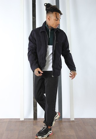 How to wear: black athletic shoes, black jeans, white and green zip neck sweater, black harrington jacket