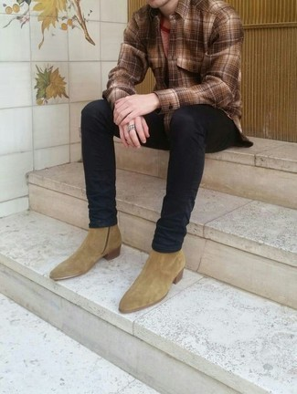 How to Wear Tan Suede Chelsea Boots For Men: This relaxed combination of a brown plaid long sleeve shirt and black jeans is a goofproof option when you need to look dapper in a flash. For something more on the dressier side to round off your getup, complete this getup with tan suede chelsea boots.