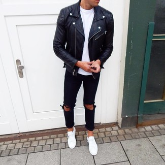 How to wear: white low top sneakers, black ripped jeans, white crew-neck t-shirt, black leather biker jacket