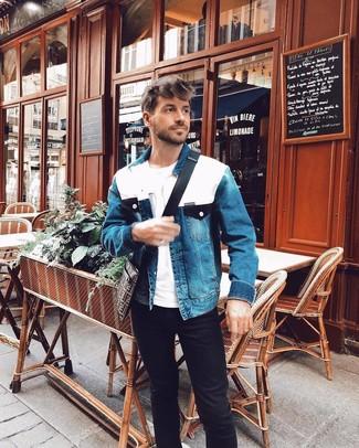 How to wear: dark brown print canvas messenger bag, black jeans, white crew-neck t-shirt, blue denim jacket