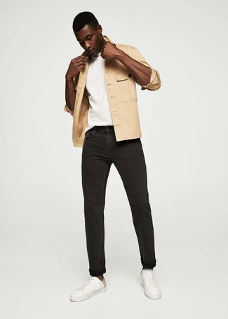 How to wear: white leather low top sneakers, black jeans, white crew-neck t-shirt, tan shirt jacket