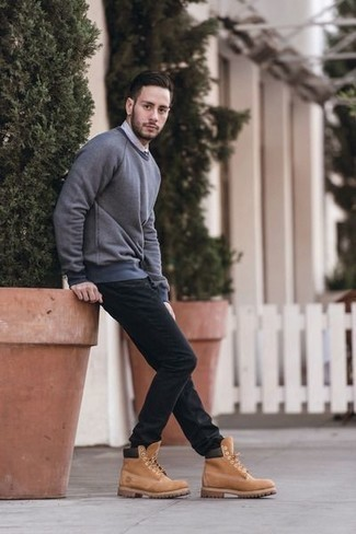 How to Wear a Grey Sweatshirt For Men: For effortless style without the need to sacrifice on functionality, we turn to this pairing of a grey sweatshirt and black jeans. Infuse an easy-going touch into this ensemble by rocking a pair of tan suede work boots.