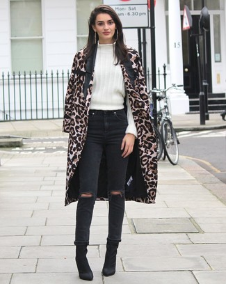 How to wear: black suede ankle boots, black ripped jeans, white wool turtleneck, brown leopard coat