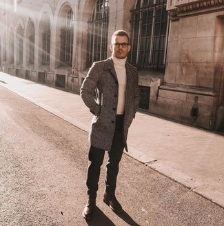 How to wear: brown leather brogue boots, black jeans, white turtleneck, grey overcoat