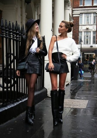 994e5299f4 ... Women's Black Quilted Leather Crossbody Bag, Black Leather Knee High  Boots, Black Leather Mini