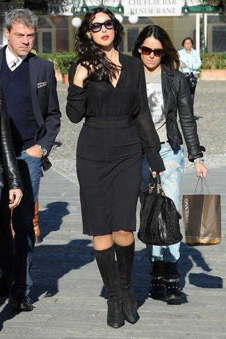 How to wear: black leather tote bag, black suede knee high boots, black pencil skirt, black silk dress shirt