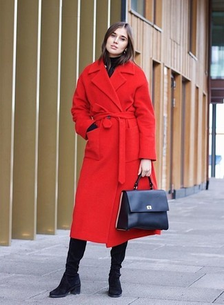 How to wear: navy leather satchel bag, black suede knee high boots, black turtleneck, red coat