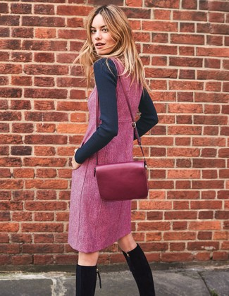 How to wear: purple leather crossbody bag, black suede knee high boots, purple overall dress, black crew-neck sweater