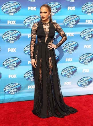 Jennifer Lopez wearing Black Lace Evening Dress, Charcoal Earrings