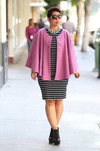 How to Wear a Pink Cape Coat: Marry a pink cape coat with a black and white horizontal striped bodycon dress for a standout look. Complement your ensemble with a pair of black leather lace-up ankle boots and you're all set looking wonderful.