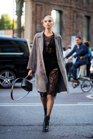 How to wear: black leather crossbody bag, black leather lace-up ankle boots, black lace bodycon dress, brown check coat
