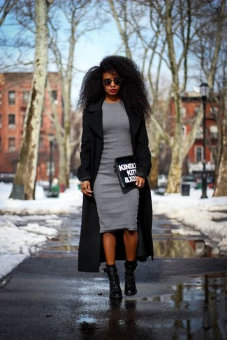 How To Wear Black Ankle Boots With A Grey Bodycon Dress 4 Looks