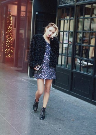 How to wear: black star print clutch, black leather lace-up flat boots, navy sequin shift dress, black fur jacket
