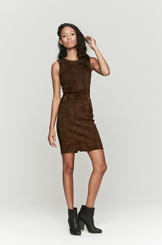How to wear: black leather ankle boots, dark brown suede sheath dress