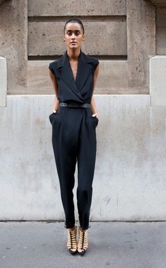 How to wear: black leather belt, beige leather gladiator sandals, black jumpsuit