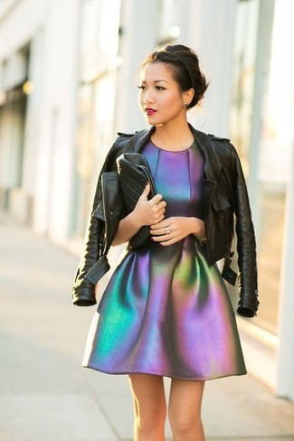 How to wear: black leather biker jacket, silver fit and flare dress, black quilted leather clutch