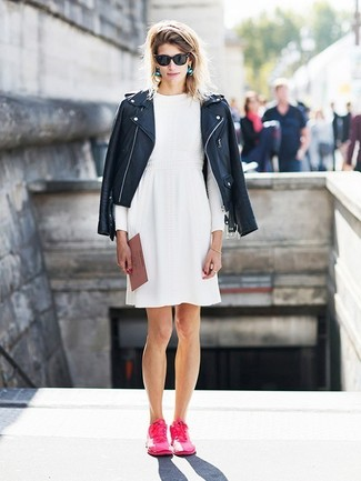How to wear: black leather biker jacket, white skater dress, hot pink low top sneakers