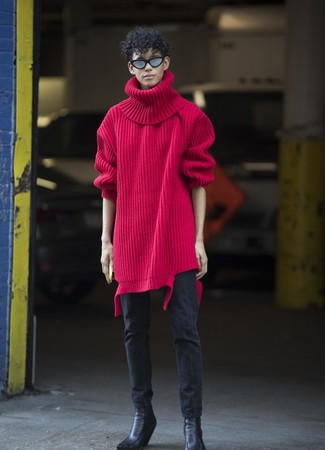 How to wear: black leather chelsea boots, black skinny jeans, red knit wool turtleneck