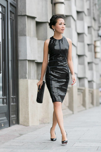 How to wear: black quilted leather clutch, black leather pumps, black sequin sheath dress