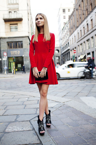 How to wear: black leather clutch, black chunky suede ankle boots, red velvet skater dress