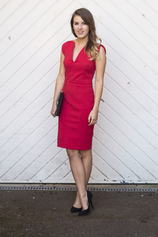 How to wear: black leather clutch, black suede pumps, red sheath dress