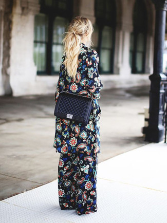 How to wear: black quilted leather crossbody bag, black floral wide leg pants, black floral coat