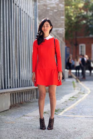 How to wear: black leather crossbody bag, black cutout leather ankle boots, red shift dress
