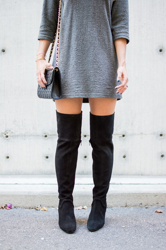 How to wear: black quilted leather crossbody bag, black suede over the knee boots, grey textured shift dress