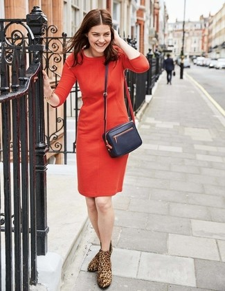 How to wear: black leather crossbody bag, brown leopard suede ankle boots, red sheath dress