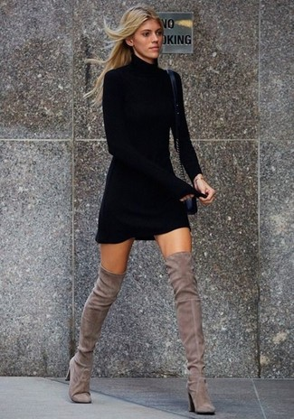 How to wear: black leather crossbody bag, grey suede over the knee boots, black sweater dress
