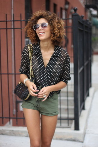 How to wear: black quilted leather crossbody bag, olive shorts, black and white polka dot short sleeve blouse