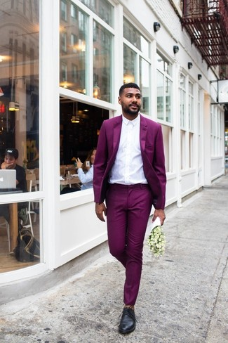 How to wear: black leather derby shoes, white dress shirt, purple suit