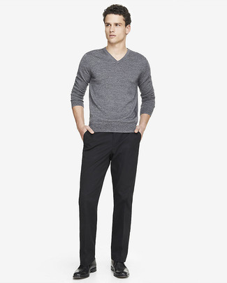 How to wear: black leather desert boots, black dress pants, grey v-neck sweater