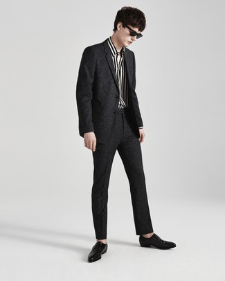 How to wear: black leather double monks, white and black vertical striped long sleeve shirt, charcoal wool suit