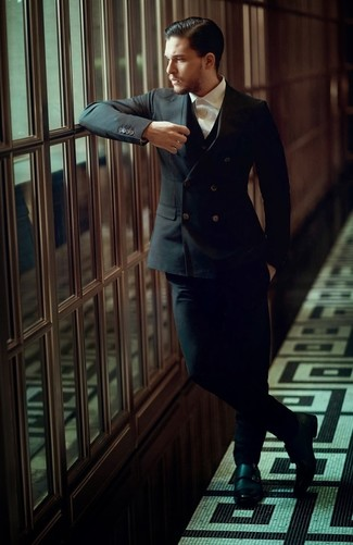 How to wear: black leather double monks, white dress shirt, black three piece suit