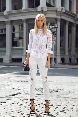 How to wear: black leather gladiator sandals, white ripped boyfriend jeans, white lace long sleeve blouse