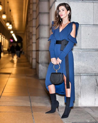 How to wear: black leather handbag, black elastic ankle boots, navy silk midi dress