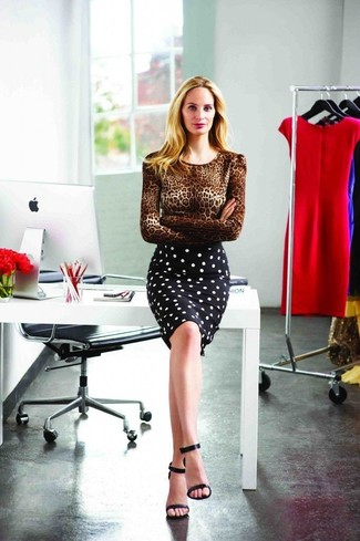 How to wear: black leather heeled sandals, black and white polka dot pencil skirt, brown leopard crew-neck sweater